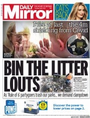 Daily Mirror (UK) Newspaper Front Page for 1 April 2021