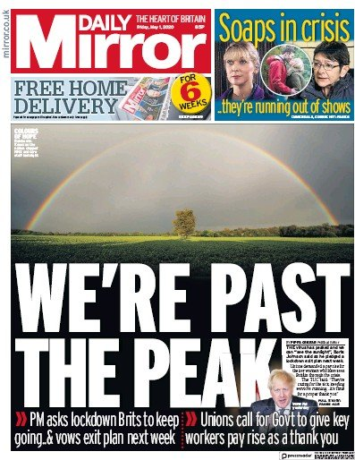 Daily Mirror Newspaper Front Page (UK) for 1 May 2020