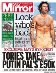 Daily Mirror (UK) Newspaper Front Page for 1 June 2018