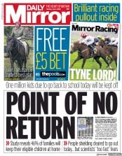 Daily Mirror front page for 1 June 2020