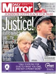 Daily Mirror () Newspaper Front Page for 1 July 2016