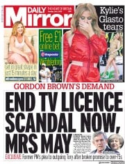 Daily Mirror () Newspaper Front Page for 1 July 2019
