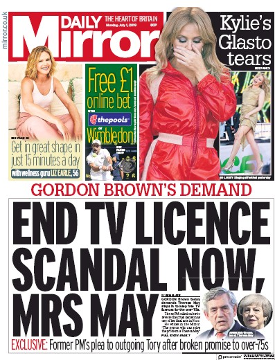 Daily Mirror Newspaper Front Page (UK) for 1 July 2019