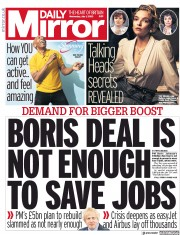 Daily Mirror front page for 1 July 2020