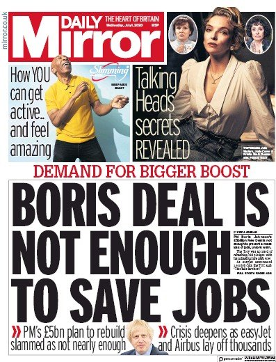 Daily Mirror Newspaper Front Page (UK) for 1 July 2020