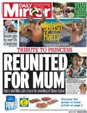 Daily Mirror () Newspaper Front Page for 1 July 2021