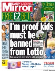 Daily Mirror (UK) Newspaper Front Page for 1 August 2019