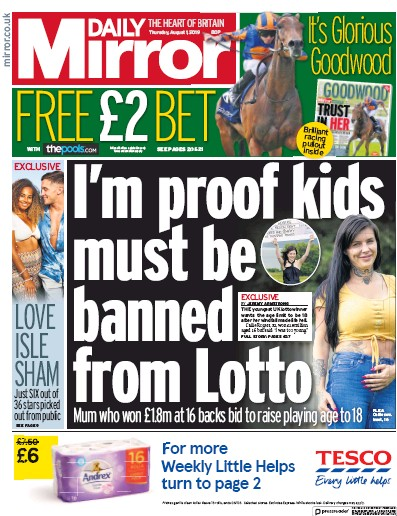 Daily Mirror Newspaper Front Page (UK) for 1 August 2019