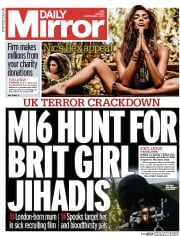 Daily Mirror (UK) Newspaper Front Page for 1 September 2014