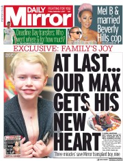 Daily Mirror (UK) Newspaper Front Page for 1 September 2017