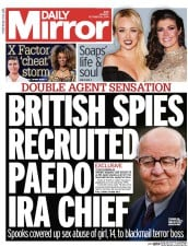 Daily Mirror (UK) Newspaper Front Page for 20 October 2014