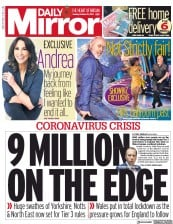Daily Mirror front page for 20 October 2020