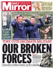 Daily Mirror (UK) Newspaper Front Page for 20 November 2017