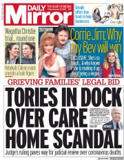 Daily Mirror front page for 20 November 2020