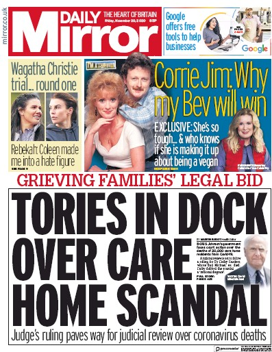 Daily Mirror Newspaper Front Page (UK) for 20 November 2020