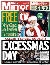 Daily Mirror (UK) Newspaper Front Page for 20 December 2014