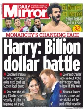 Daily Mirror (UK) Newspaper Front Page for 20 January 2020