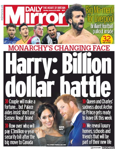 Daily Mirror Newspaper Front Page (UK) for 20 January 2020