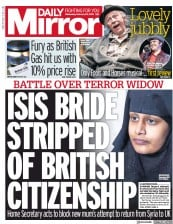 Daily Mirror () Newspaper Front Page for 20 February 2019