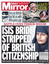 Daily Mirror (UK) Newspaper Front Page for 20 February 2019