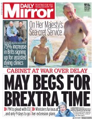 Daily Mirror () Newspaper Front Page for 20 March 2019
