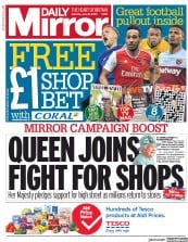 Daily Mirror front page for 20 June 2020