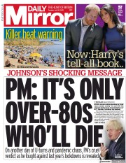 Daily Mirror () Newspaper Front Page for 20 July 2021