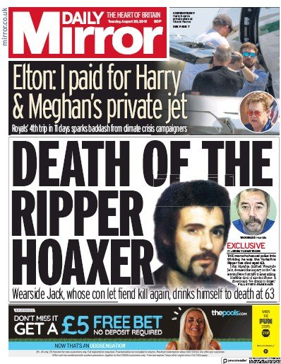 Daily Mirror Newspaper Front Page (UK) for 20 August 2019