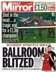 Daily Mirror (UK) Newspaper Front Page for 20 September 2014