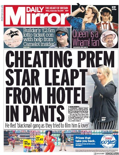 Daily Mirror Newspaper Front Page (UK) for 20 September 2019