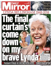 Daily Mirror (UK) Newspaper Front Page for 21 October 2014