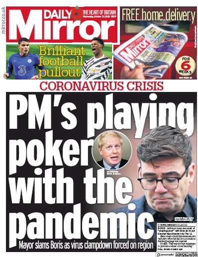 Daily Mirror Newspaper Front Page (UK) for 21 October 2020