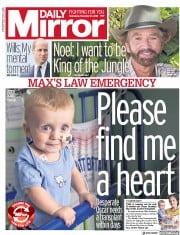 Daily Mirror (UK) Newspaper Front Page for 21 November 2018