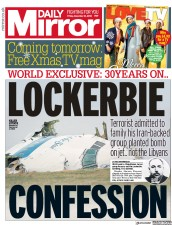 Daily Mirror (UK) Newspaper Front Page for 21 December 2018