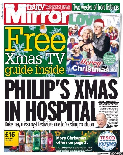 Daily Mirror Newspaper Front Page (UK) for 21 December 2019