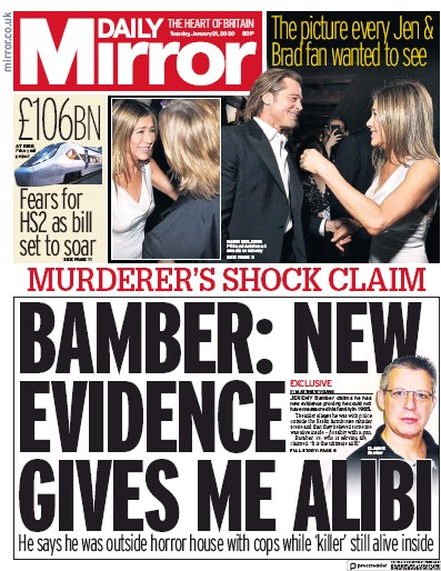 Daily Mirror Newspaper Front Page (UK) for 21 January 2020