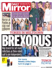 Daily Mirror (UK) Newspaper Front Page for 21 February 2019