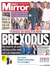 Daily Mirror () Newspaper Front Page for 21 February 2019