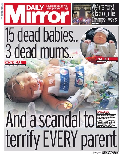 Daily Mirror Newspaper Front Page (UK) for 21 April 2017
