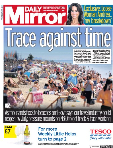 Daily Mirror Newspaper Front Page (UK) for 21 May 2020