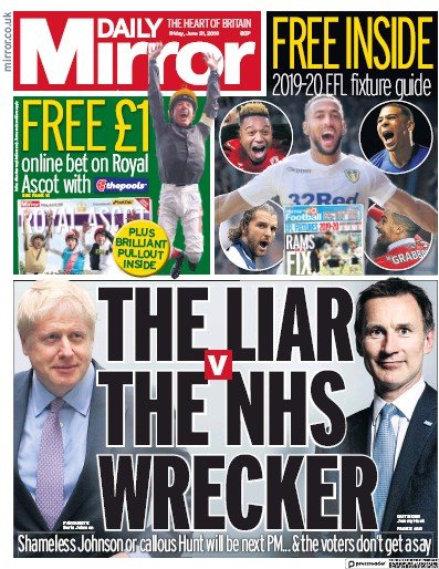 Daily Mirror Newspaper Front Page (UK) for 21 June 2019
