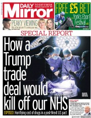 Daily Mirror (UK) Newspaper Front Page for 21 August 2019