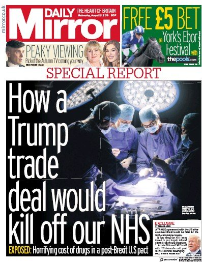 Daily Mirror Newspaper Front Page (UK) for 21 August 2019