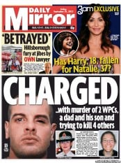 Daily Mirror Newspaper Front Page (UK) for 21 September 2012