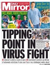 Daily Mirror front page for 21 September 2020