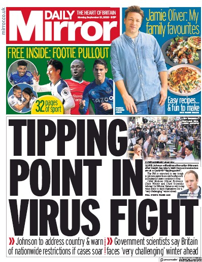 Daily Mirror Newspaper Front Page (UK) for 21 September 2020