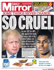 Daily Mirror front page for 22 October 2020