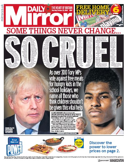 Daily Mirror Newspaper Front Page (UK) for 22 October 2020