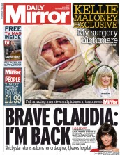 Daily Mirror (UK) Newspaper Front Page for 22 November 2014