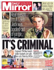 Daily Mirror (UK) Newspaper Front Page for 22 November 2017